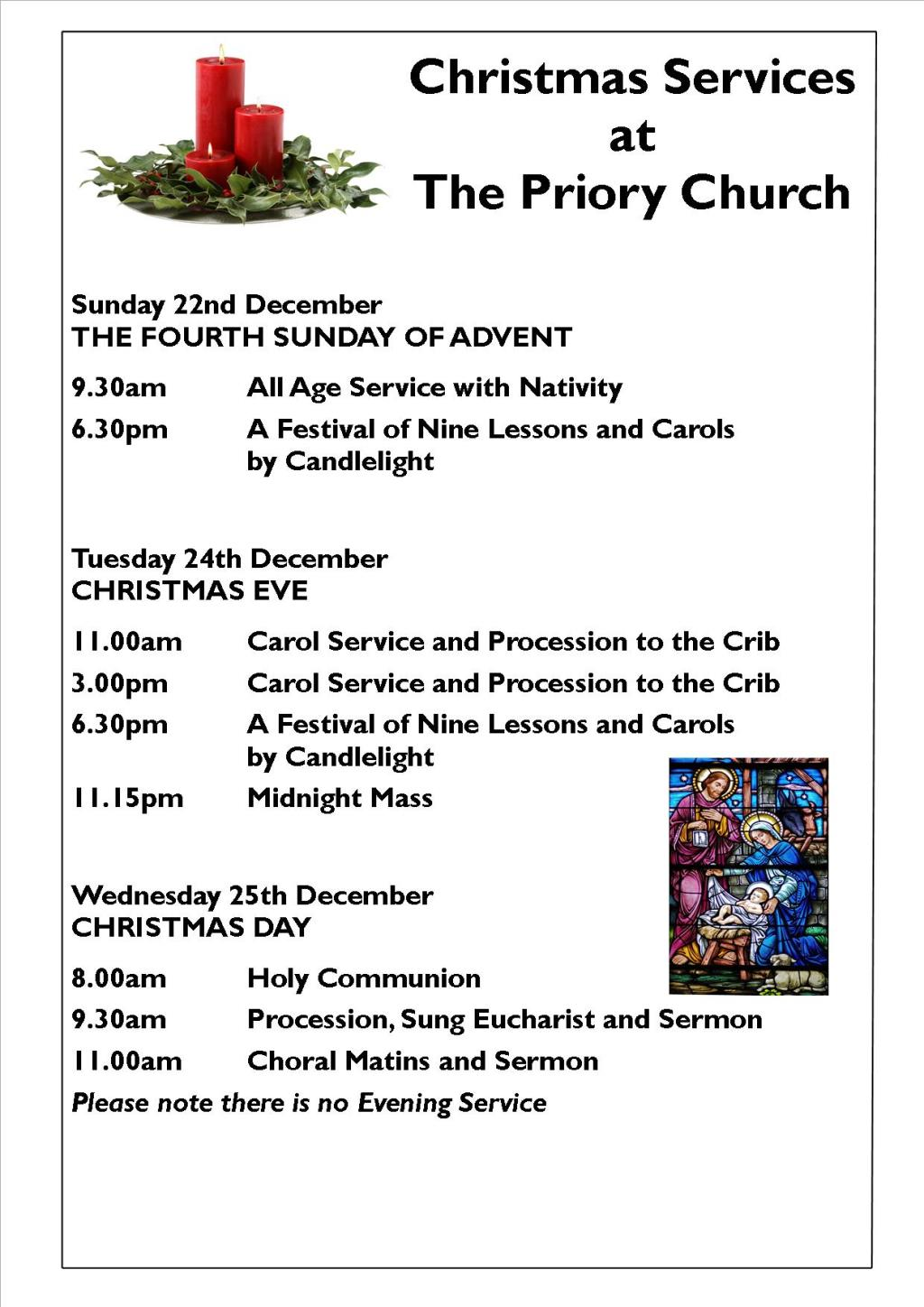 Christmas Services at The Priory Christchurch